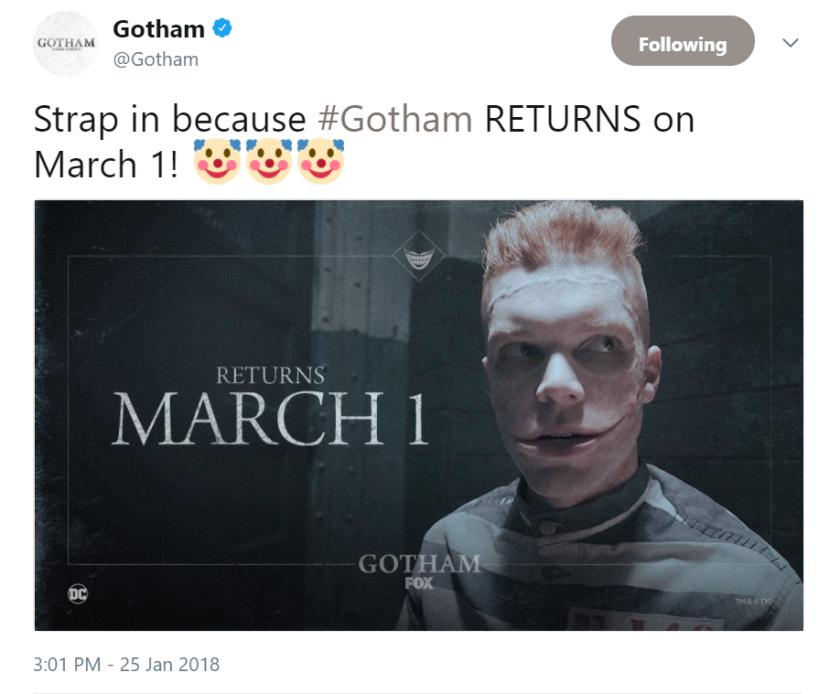 Gotham returns 2018